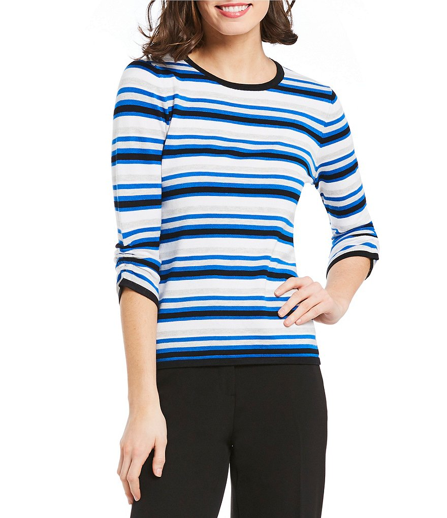 Investments Petites 3/4 Ruched Sleeve Sweater