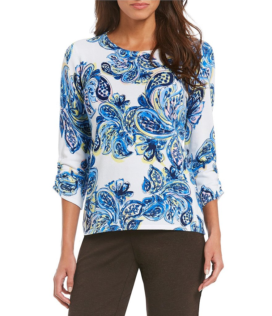 Investments Petites 3/4 Ruched Sleeve Top