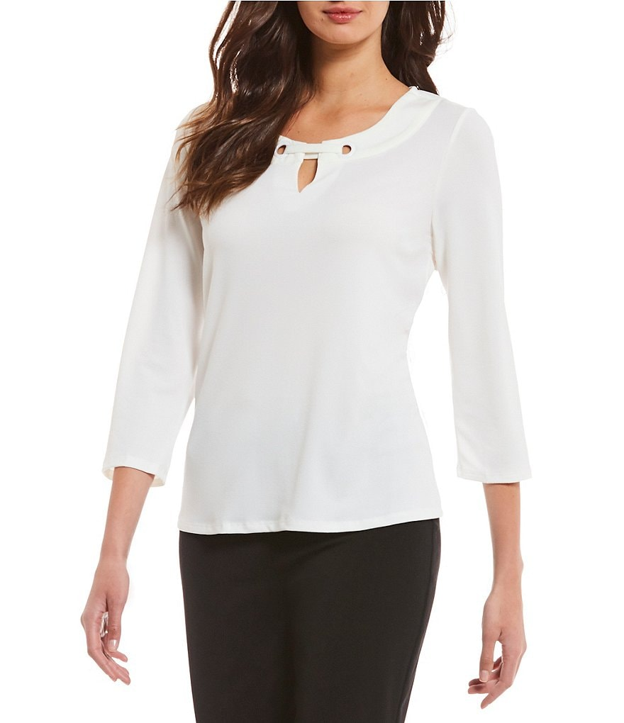 Investments Petites 3/4 Sleeve Keyhole Top