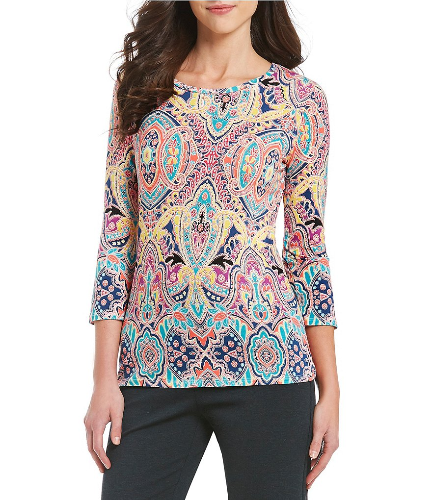 Investments Petites Essentials Printed 3/4 Sleeve Top