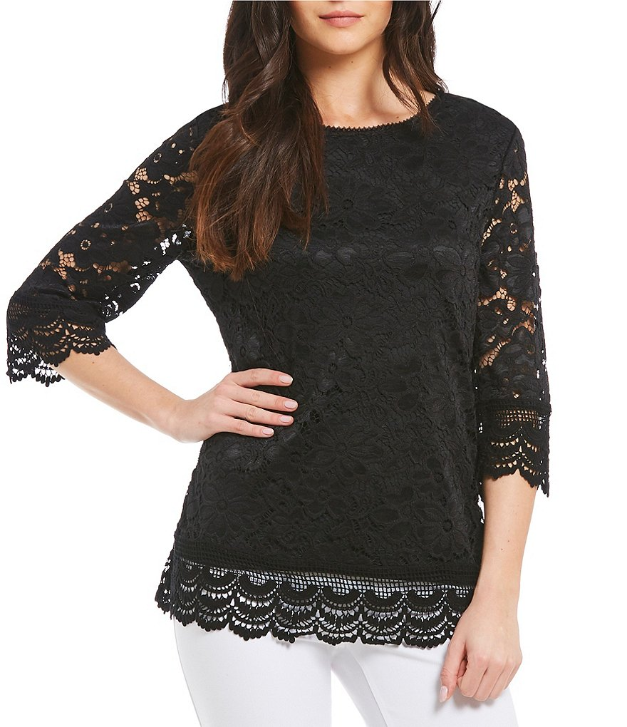 Investments Petites Jewel Neck Lace Top