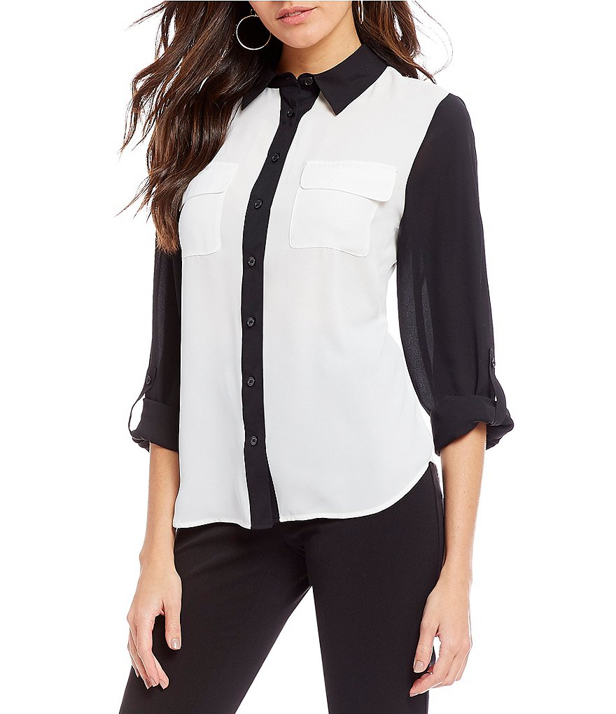 Investments Petites Long Roll-Tab Sleeve Colorblock Utility Blouse