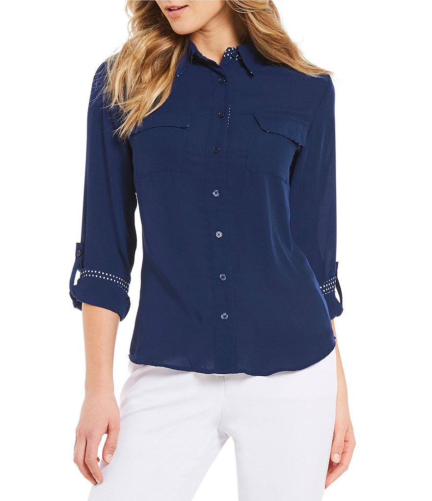 Investments Petites Long Roll-Tab Sleeve Utility Blouse
