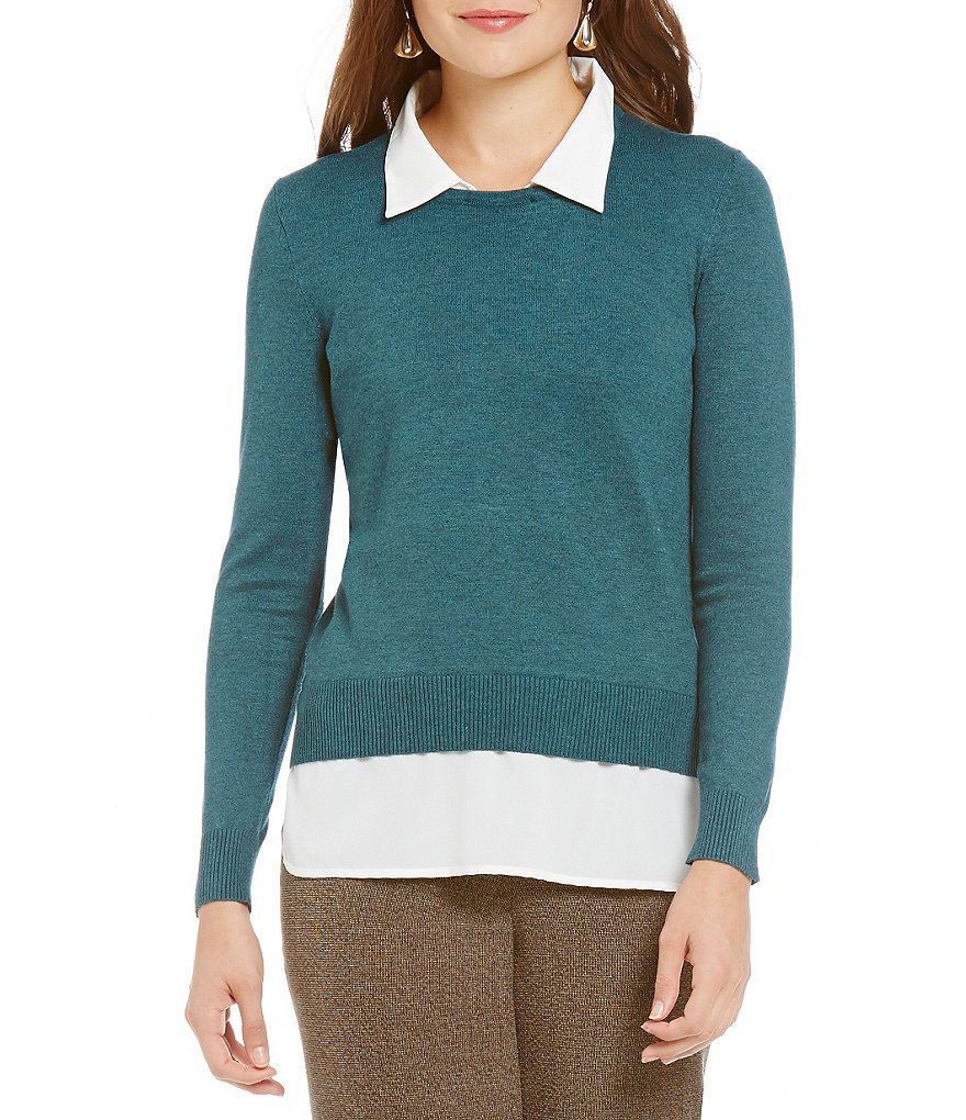 Investments Petites With Collar and Shirttail Hem Long Sleeve Top