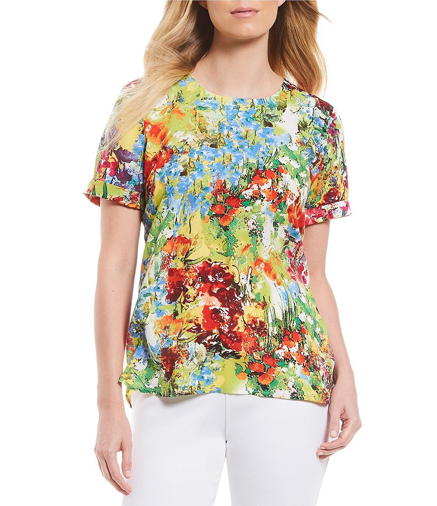 Investments Petites Short Sleeve Crew Neck Water Floral Print Top