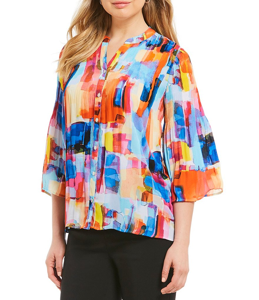 Investments Pleated Button-Front Watercolor Print Blouse