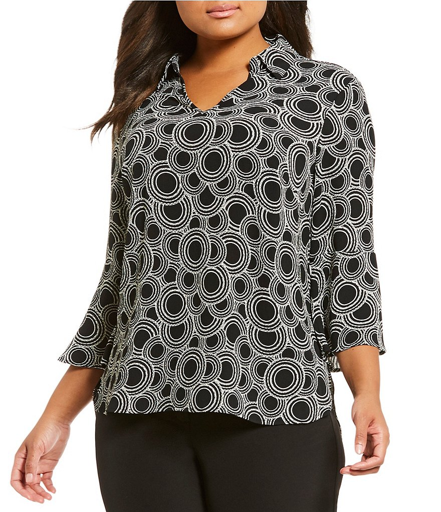 Investments Plus 3/4 Bell Sleeve Split Top