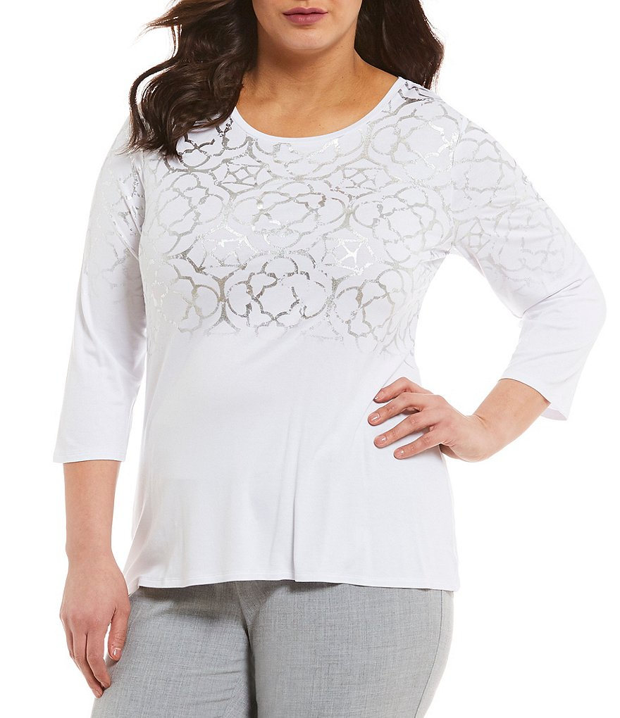 Investments Plus Essentials Printed 3/4 Sleeve Top