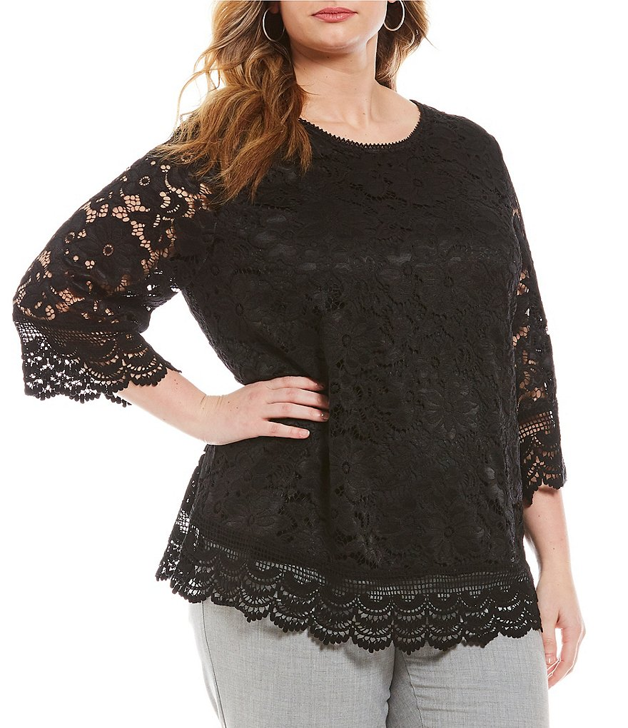 Investments Plus Jewel Neck Lace Top