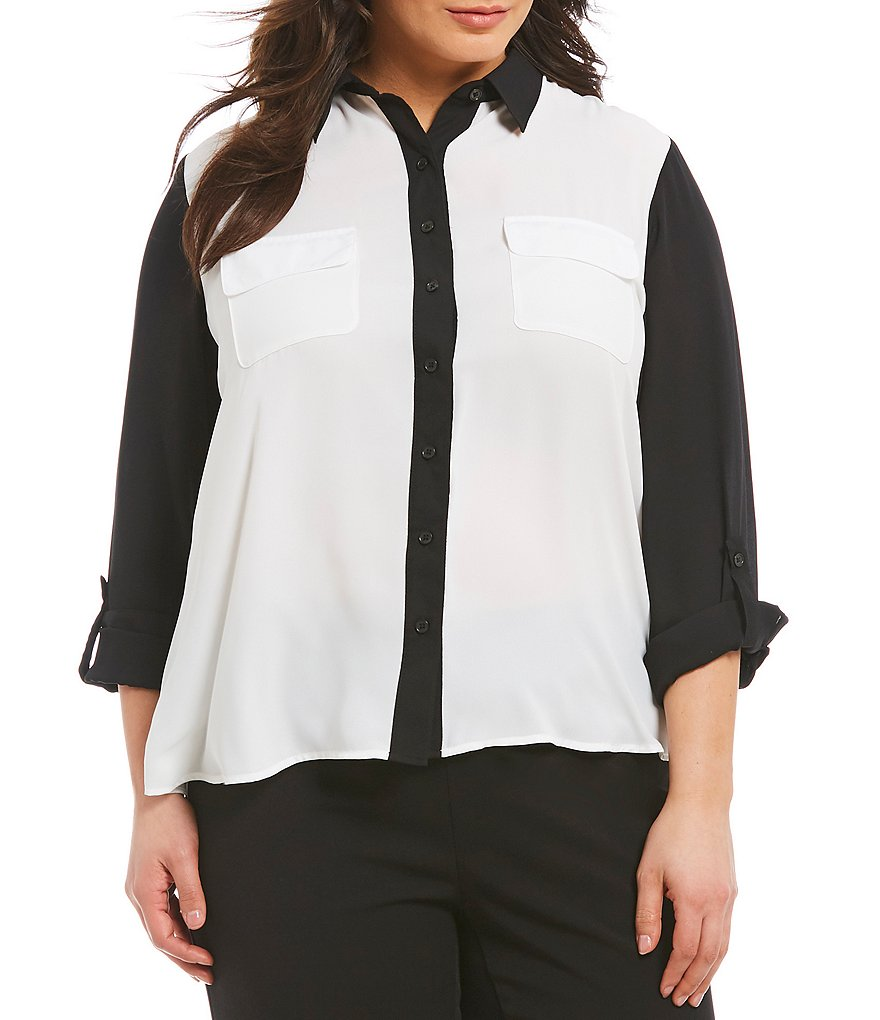 Investments Plus Long Roll-Tab Sleeve Colorblock Utility Blouse