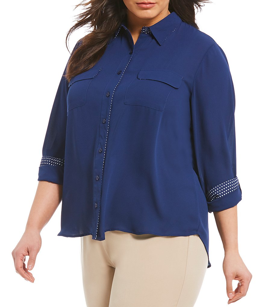 Investments Plus Long Roll-Tab Sleeve Utility Blouse