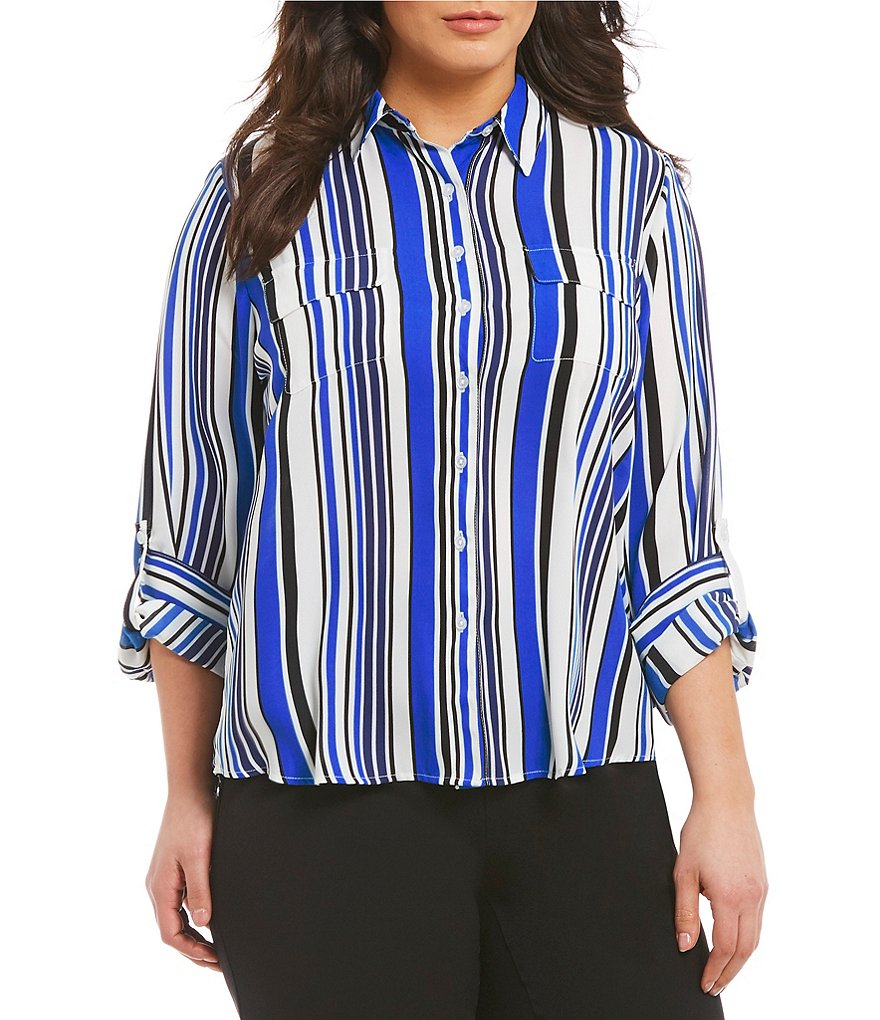 Investments Plus Long Roll-Tab Sleeve Multi Stripe Utility Blouse
