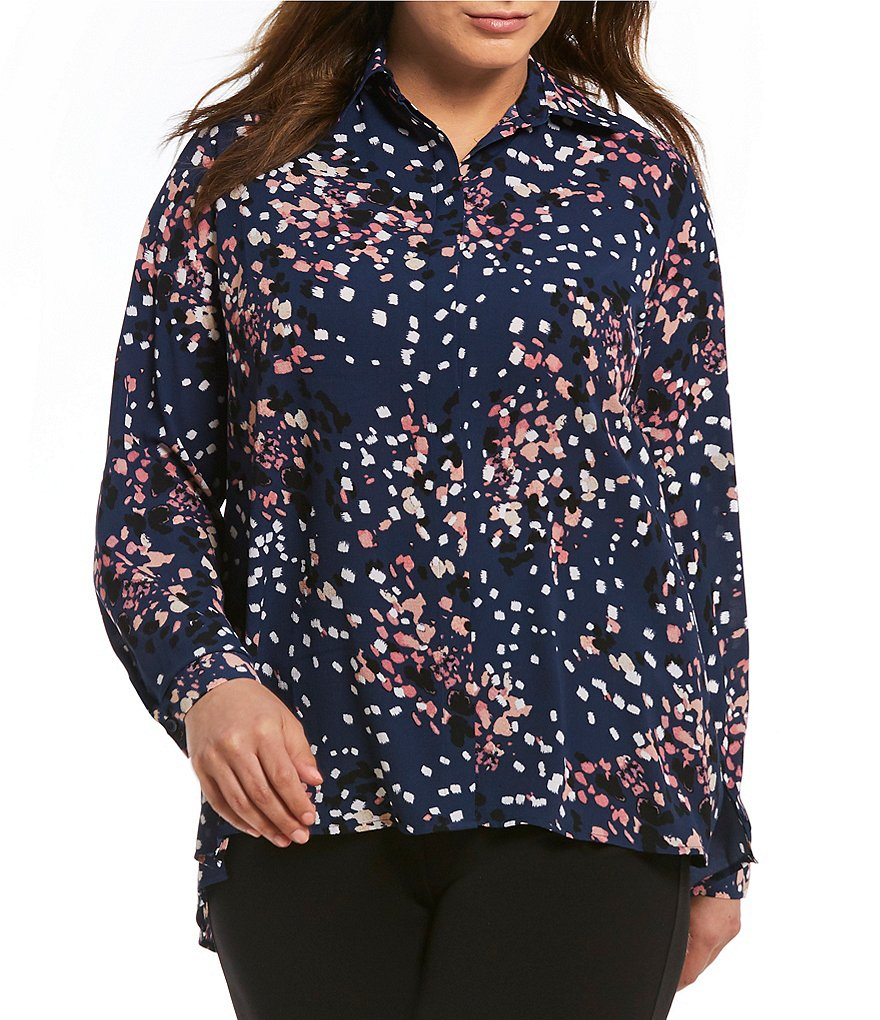 Investments Plus Long Sleeve Button Front Shirt