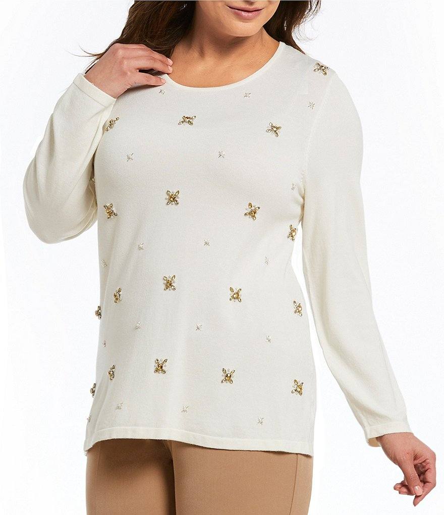Investments Plus Long Sleeve Embellished Sweater