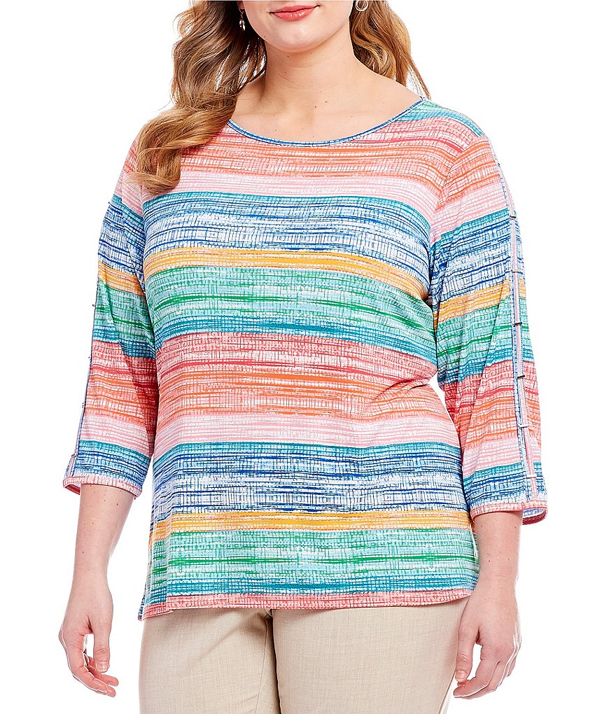 Investments Plus Multi Stripe Bar Sleeve Top