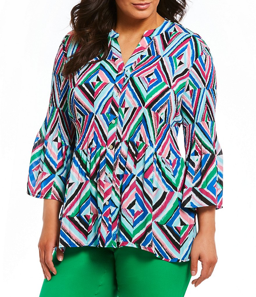 Investments Plus Pleated Button-Front Printed Blouse