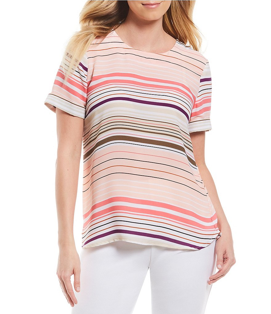 Investments Stripe Short Sleeve Crew Neck Top