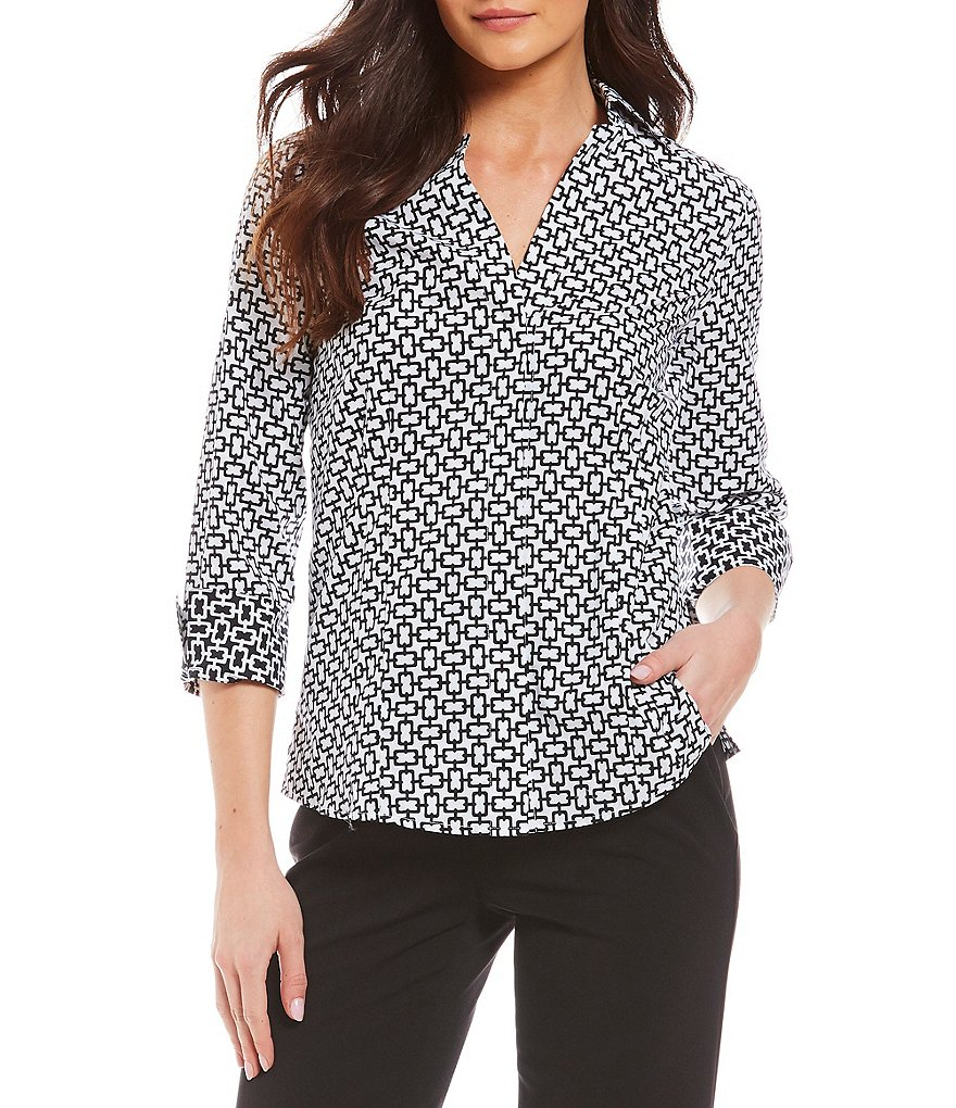 Investments Y-Neck 3/4 Sleeve Button Front Shirt