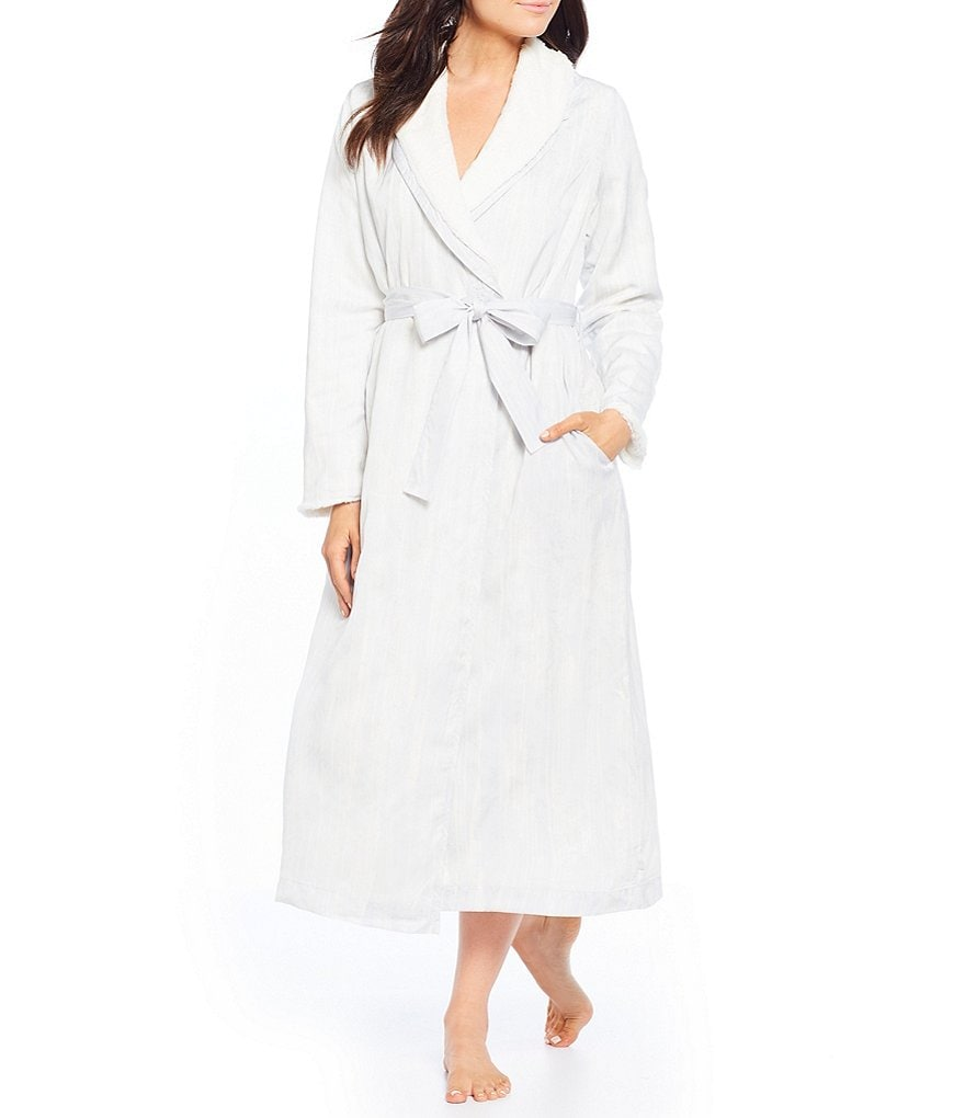 iRelax Satin Wrap Robe with Faux-Fur Lining