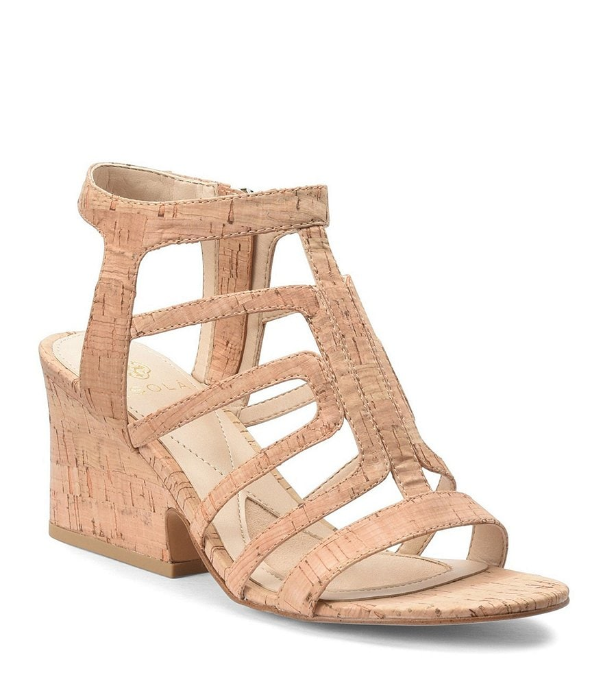 Isola Lina Cork Caged Block Heel Sandals