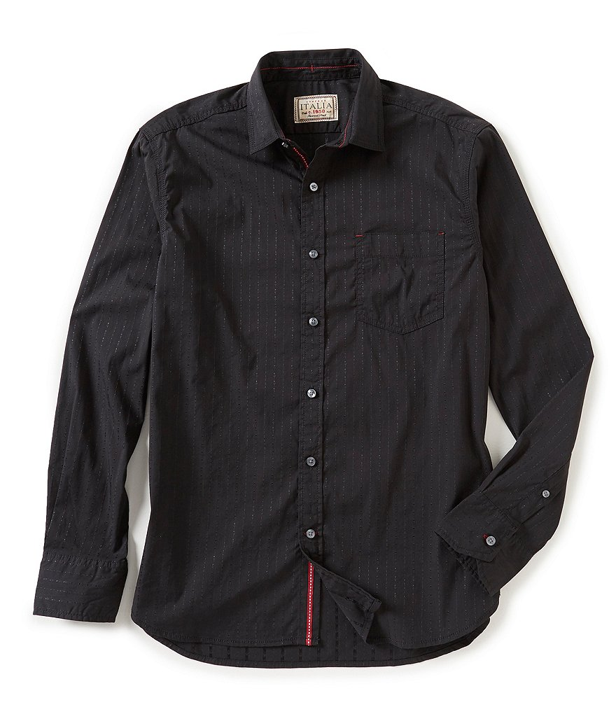 Italia Solid Dobby Long-Sleeve Woven Shirt