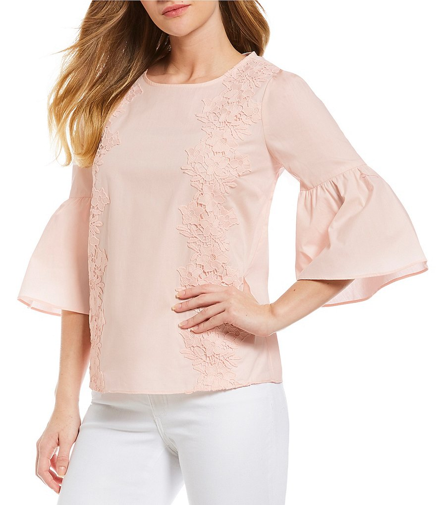 Ivanka Trump 3/4 Bell Sleeve Embroidered Lace Trim Top