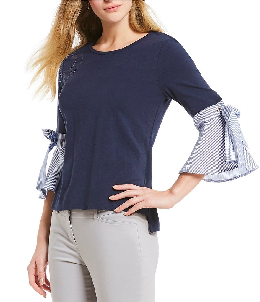 Ivanka Trump 3/4 Sleeve Knit Top With Woven Stripe Bow-Tie Bell Cuffs