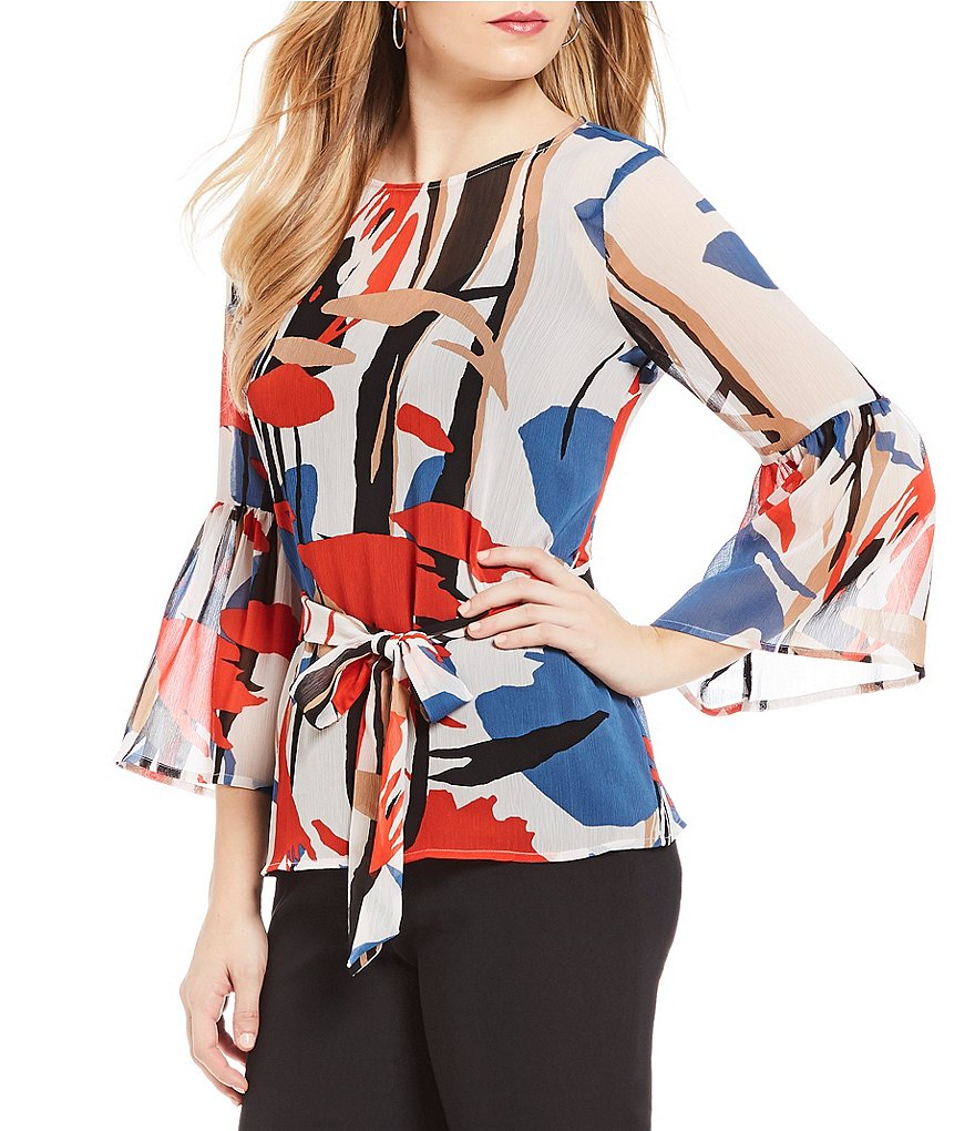 Ivanka Trump Abstract Floral Print Bell Sleeve Belted Top
