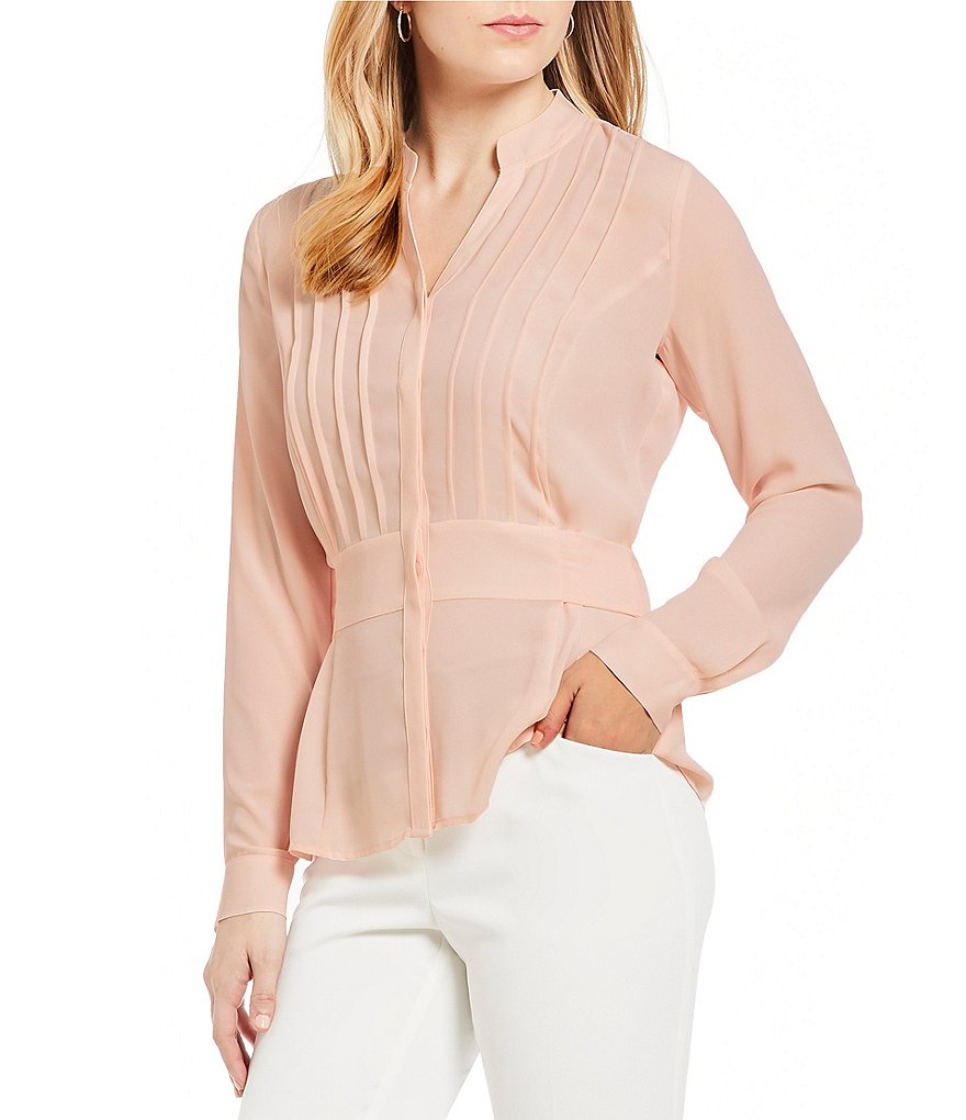 Ivanka Trump Band Collar Pleat Front Tie-Waist Top