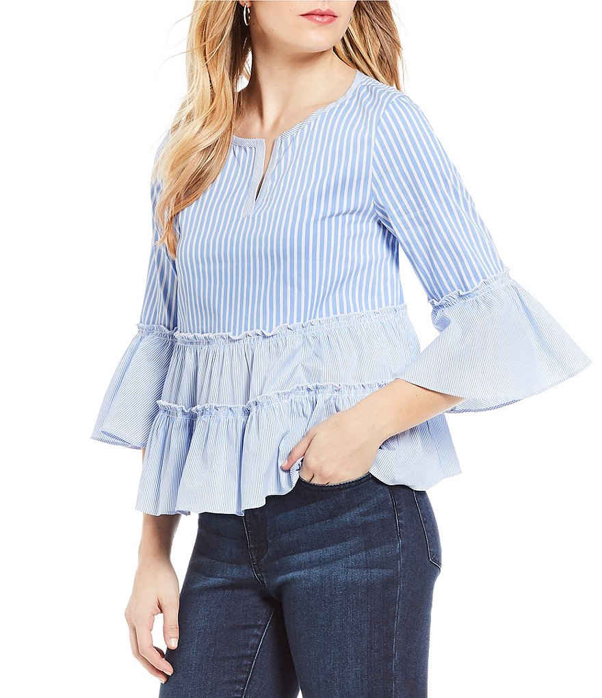 Ivanka Trump Chambray and Stripe Ruffle Trim Peasant Top