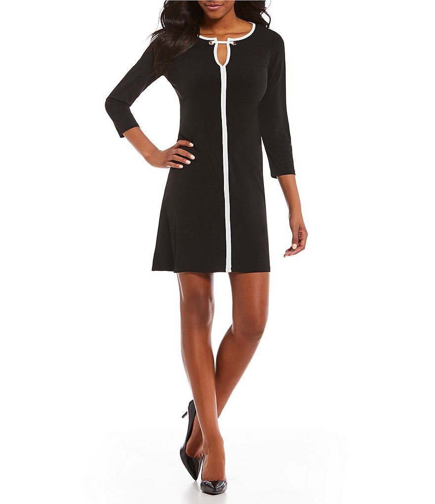 Ivanka Trump Contrast Pipe Trim Matte Jersey Shift Dress