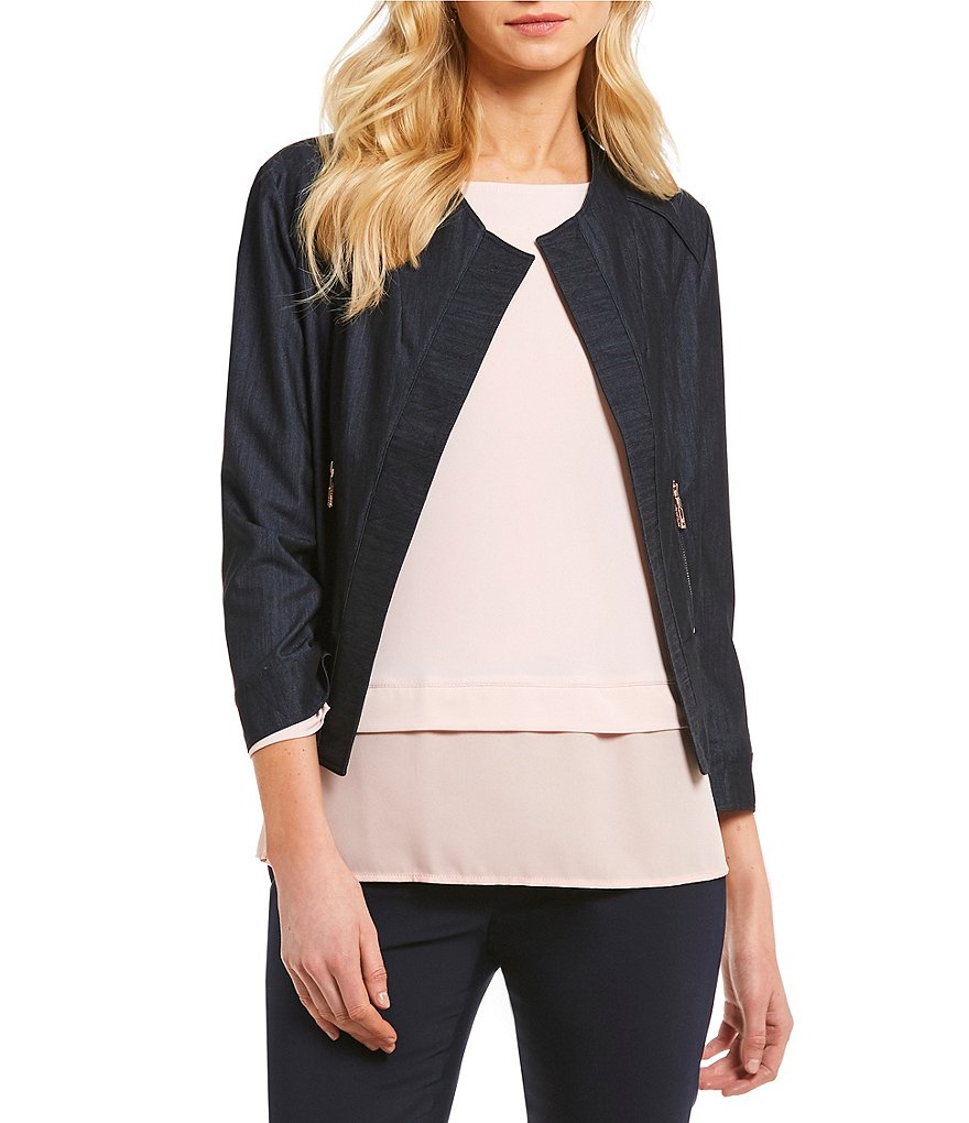 Ivanka Trump Dressy Denim Open-Front Zip Pocket Jacket