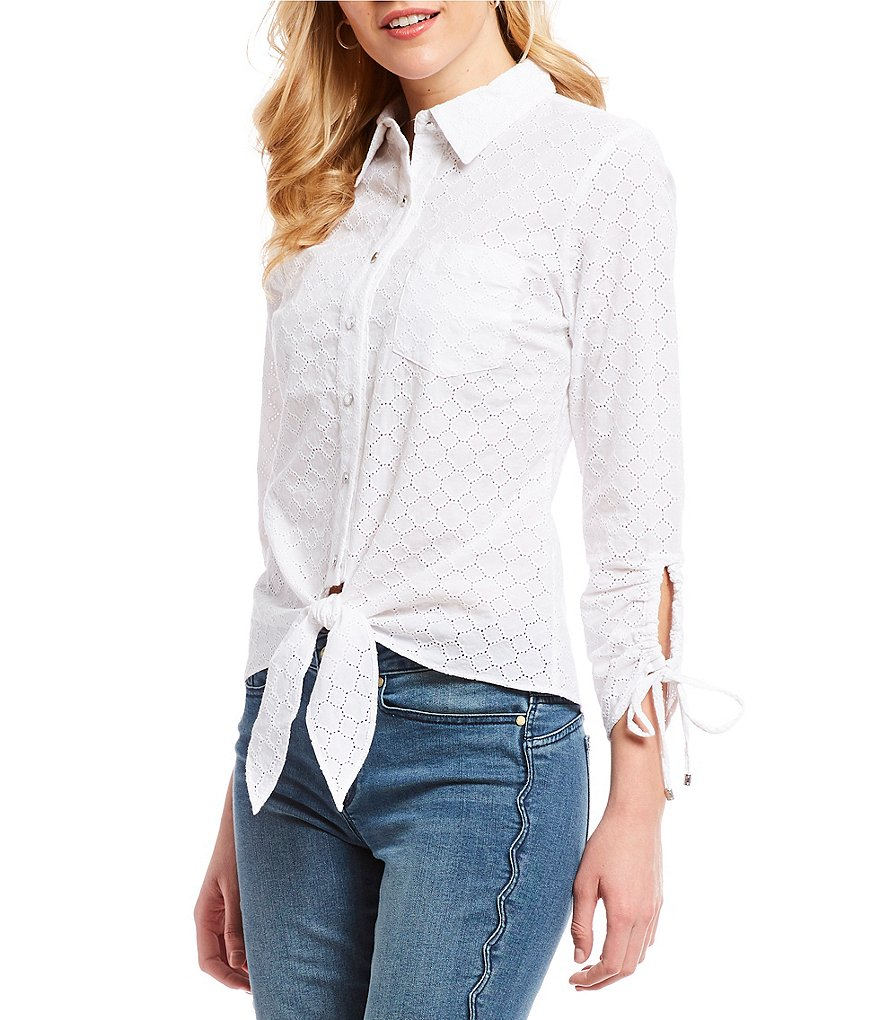 Ivanka Trump Embroidered Eyelet Ruched Sleeve Tie-Front Blouse