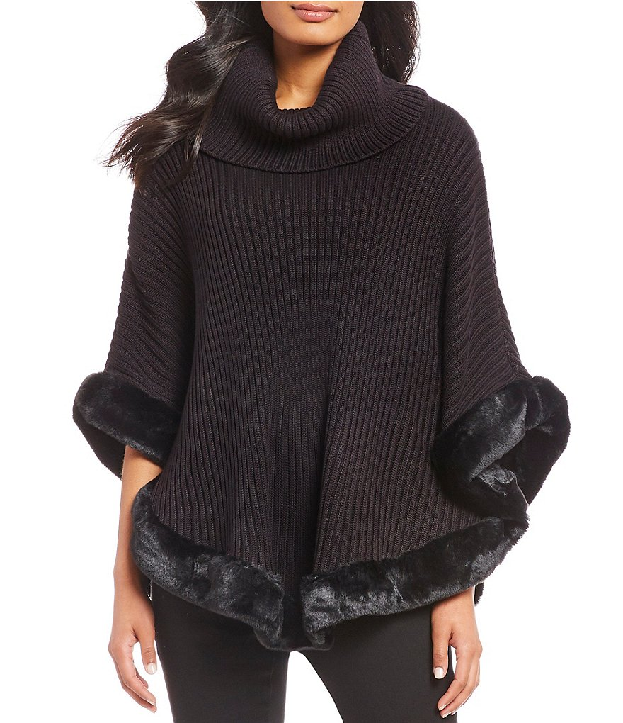 Ivanka Trump Faux Fur Hem Cowl Neck Ribbed Sweater Knit Poncho