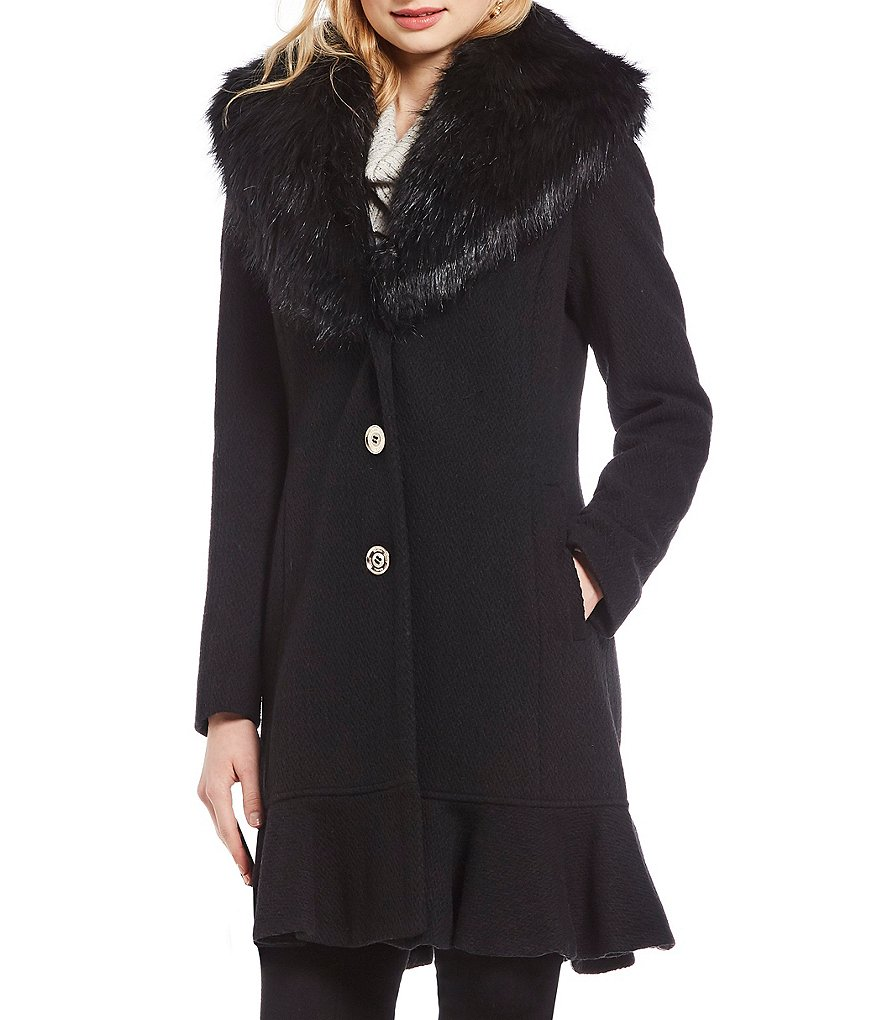 Ivanka Trump Faux Fur Shawl Collar Wool Blend Coat