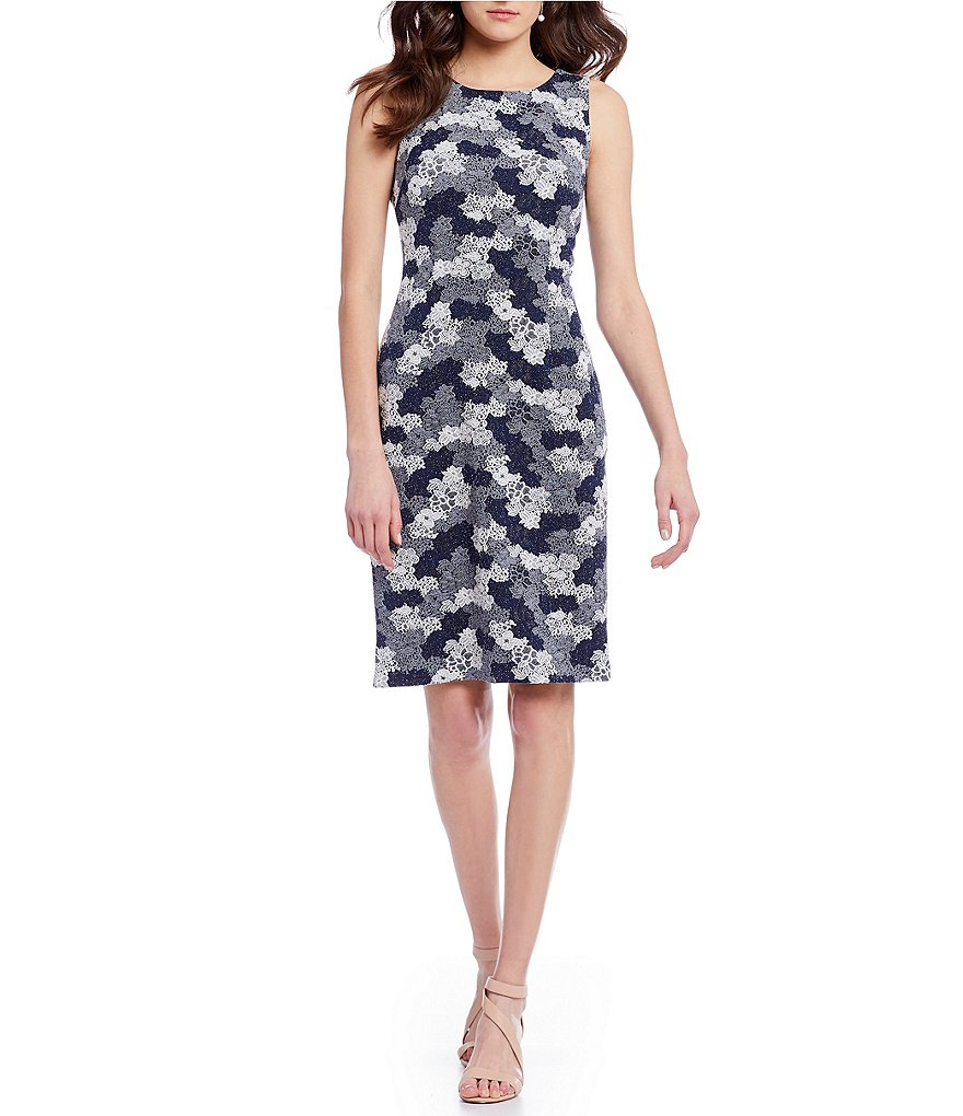 Ivanka Trump Floral Jacquard Knit Sheath Dress