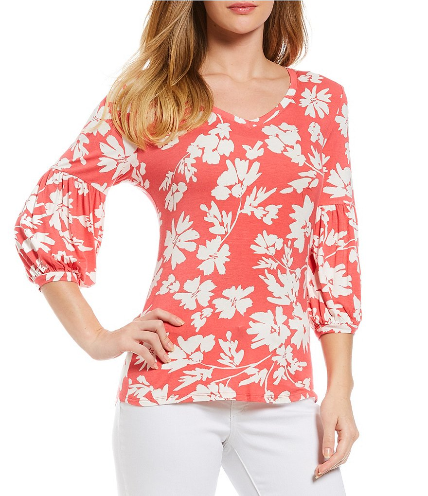 Ivanka Trump Floral Print Knit Jersey V-Neck Peasant Top