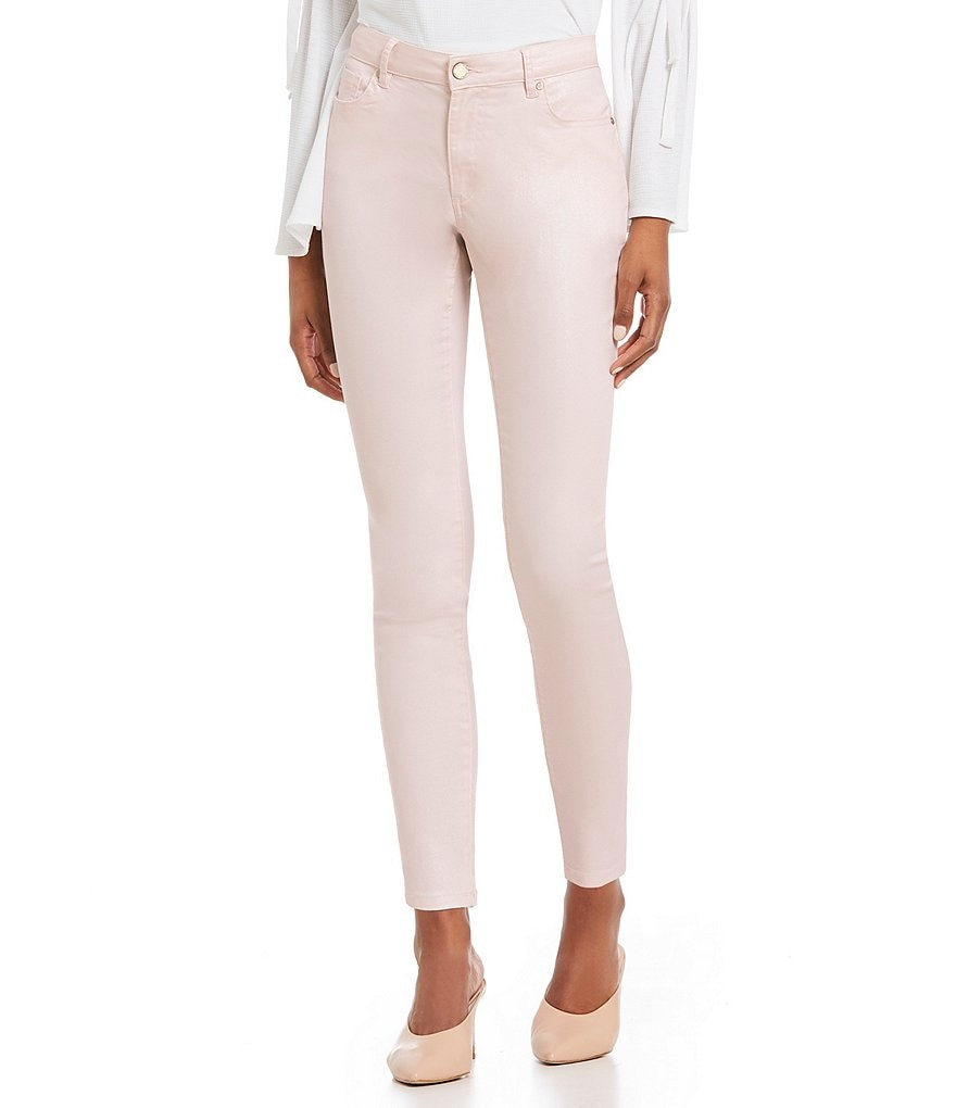 Ivanka Trump Frosted Blush Denim Skinny Ankle Jeans