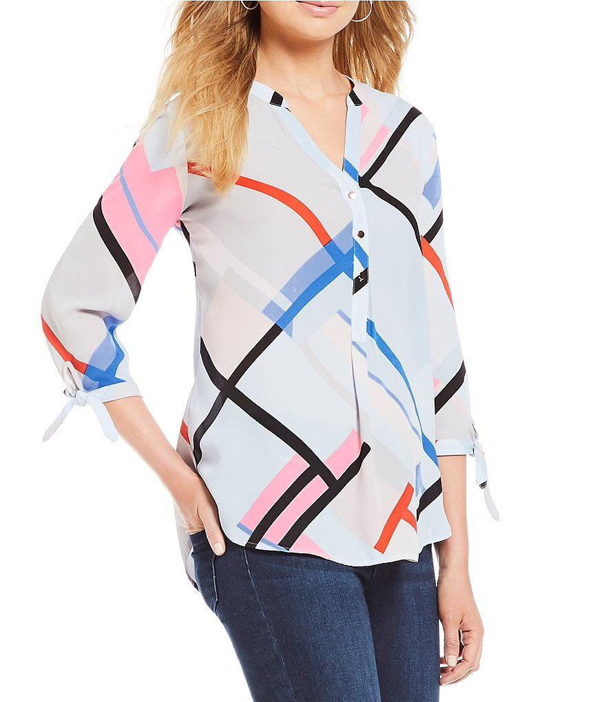Ivanka Trump Geometric Print Georgette 3/4 Sleeve Top