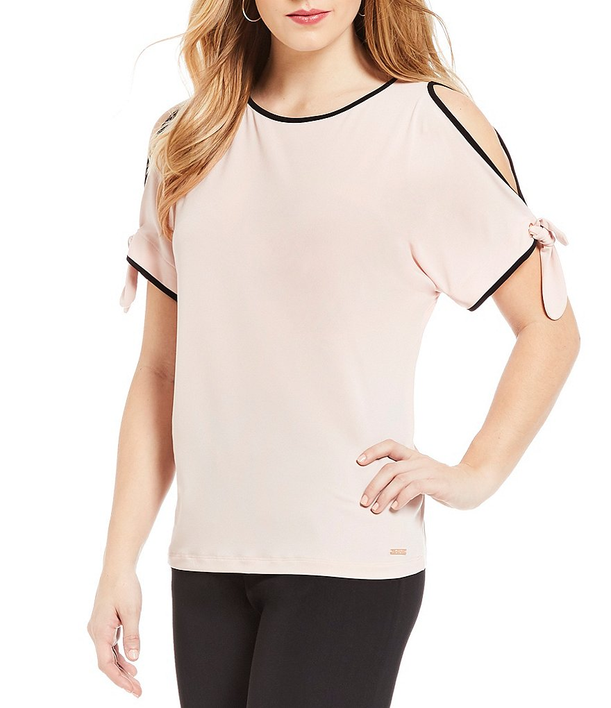 Ivanka Trump Matte Jersey Cold Shoulder Top