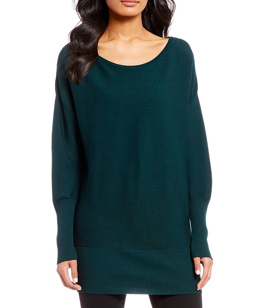 Ivanka Trump Ribbed Knit Puff Sleeve Sweater