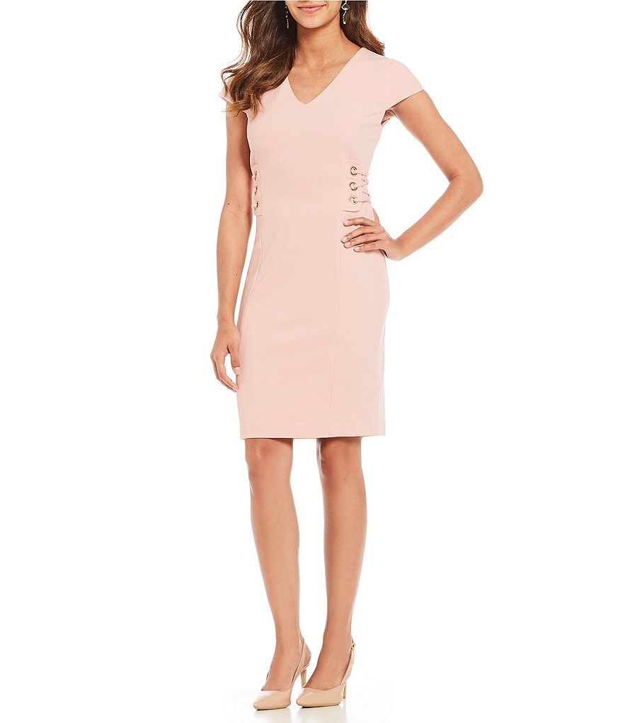 Ivanka Trump Scuba Crepe Grommet Corset Side Tie Dress