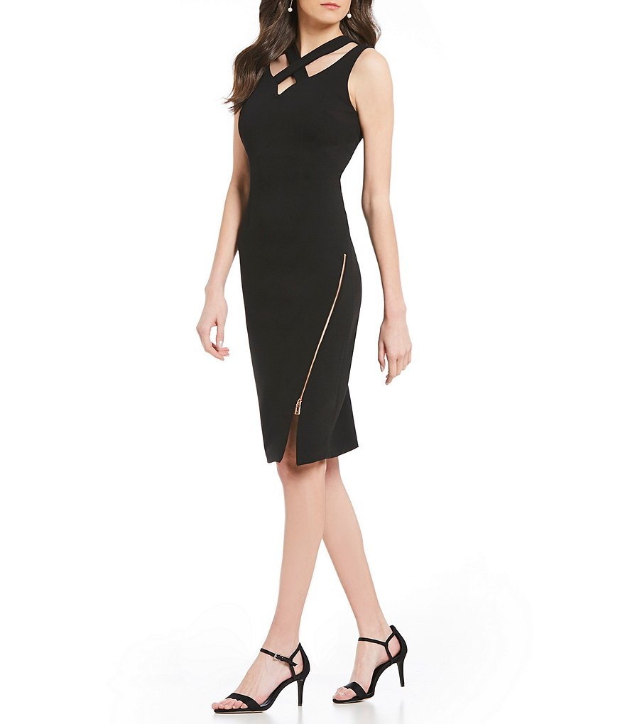 Ivanka Trump Scuba Crepe V-Neck Crossover Strap Sheath Dress