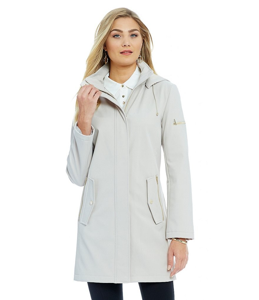 Ivanka Trump Soft Shell Single Breasted Walker With Detachable Hood