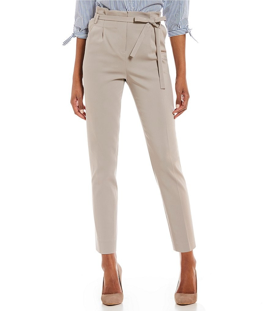 Ivanka Trump Soft Twill Belted Paper-Bag Belted Tie Waist Ankle Pants