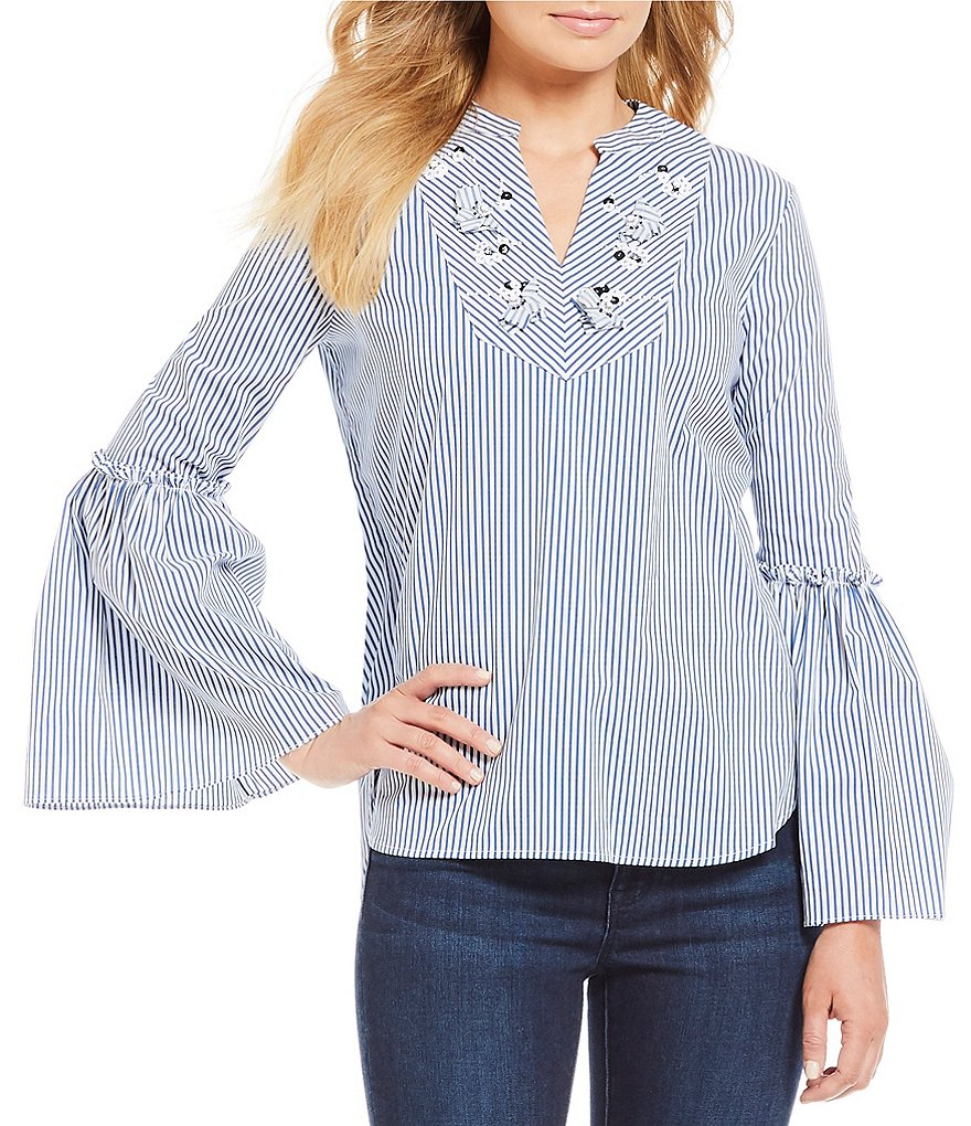 Ivanka Trump Stretch Cotton Stripe Embellished V-Neck Ruffled Bell Sleeve Top