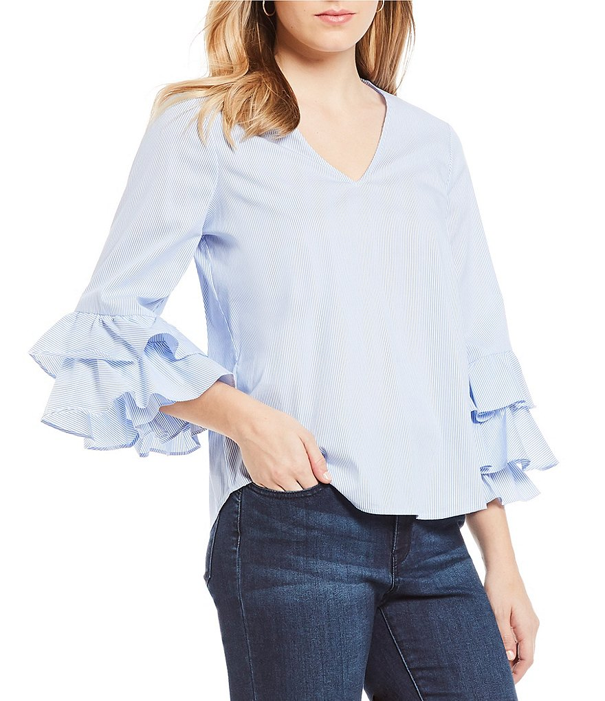 Ivanka Trump Stretch Cotton Stripe V-Neck Tiered Ruffle Long Bell Sleeve Novelty Shirting Top