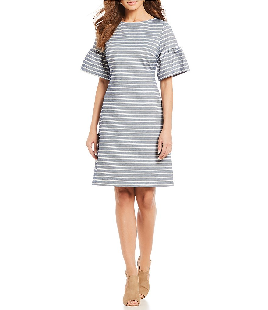 Ivanka Trump Stripe Jacquard Knit Short Bell Sleeve Shift Dress