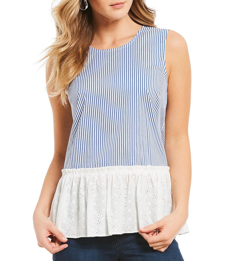 Ivanka Trump Stripe Poplin Sleeveless Ruffled Eyelet Hem Top