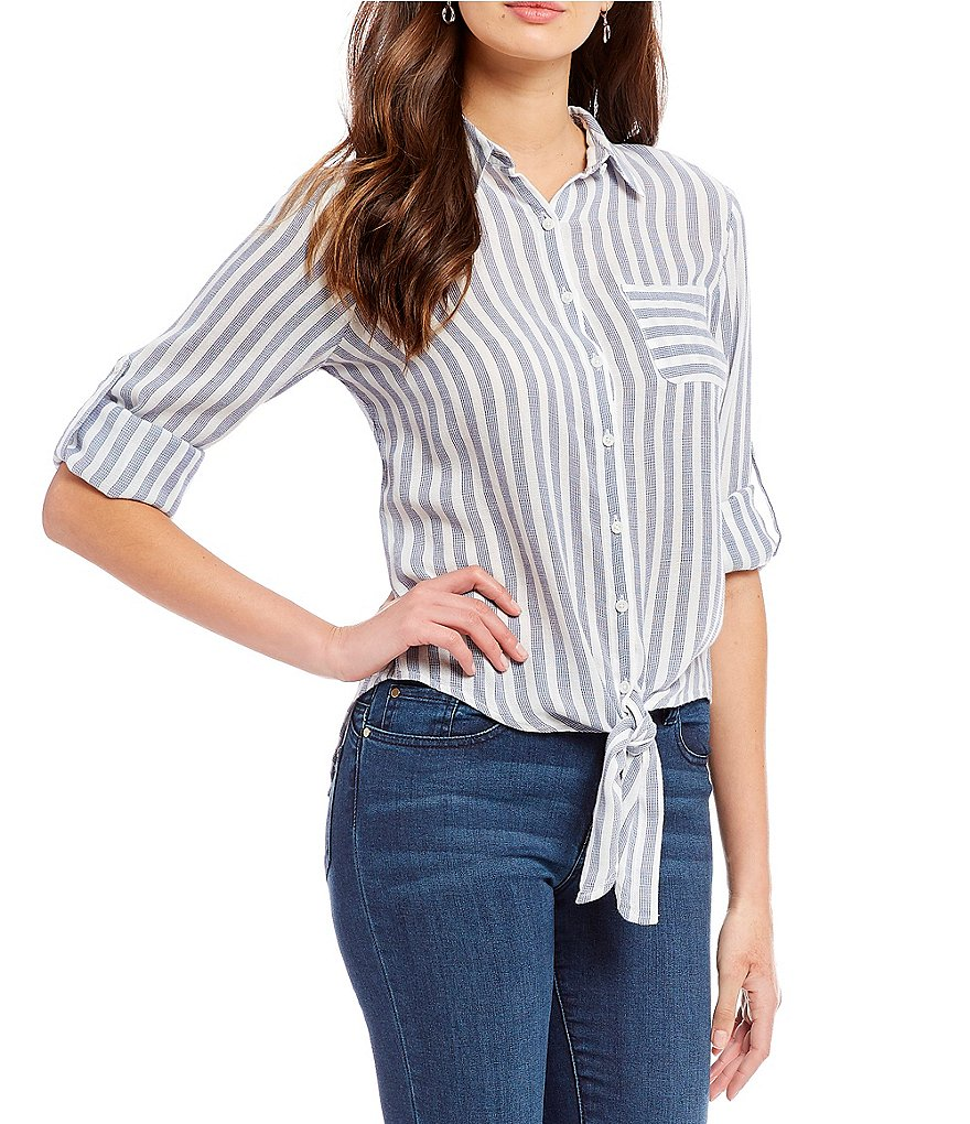 Ivanka Trump Wide Stripe Long Roll-Tab Sleeve Tie-Front Hem Shirt